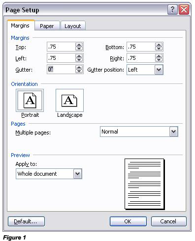 microsoft word how to change left top
